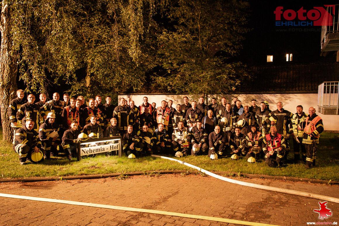 Die teilnehmenden Wehrleute aller drei beteiligten Feuerwehren Erbach, Bad Camberg-Kernstadt und Dauborn.